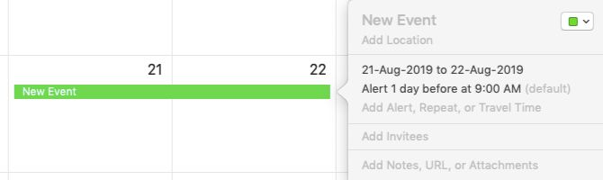 Edit Event popup for multi-day event in Calendar on Mac