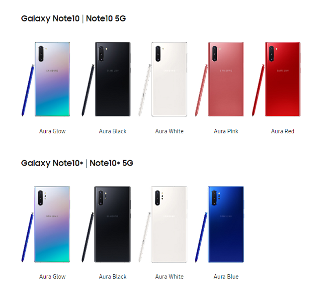 galaxy note 10 color range