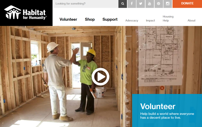 Habitat for Humanity Volunteer Work Website