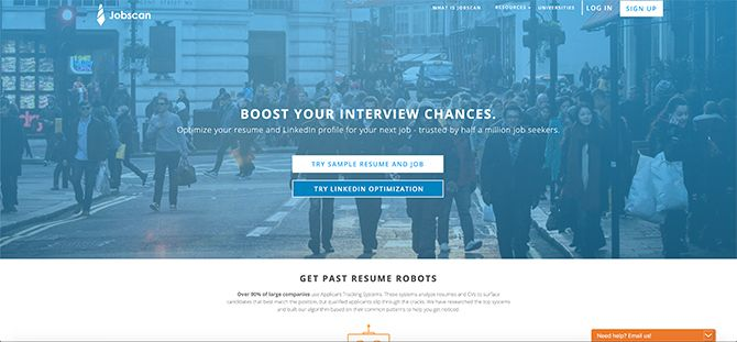 How Jobscan Helps You Tailor Your Resume Sign Up page