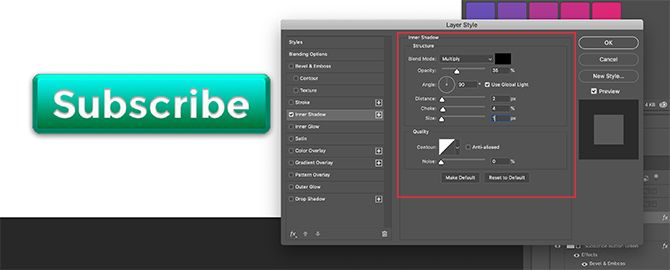 Add Inner Shadow to Text on 3D Button in Photoshop
