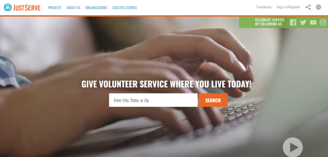 JustServe Volunteer Work Website