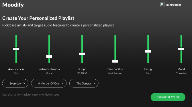 Moodify creates personalized playlists based on songs you like and musical features you want