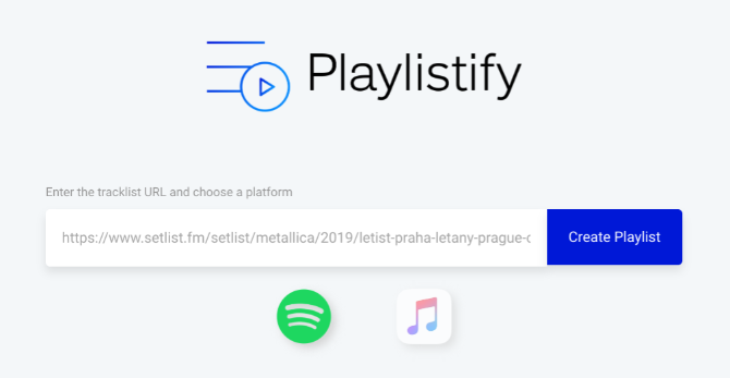 Playlistify creates playlists from setlists on 1001 Tracklists, setlist.fm, and livetracklist