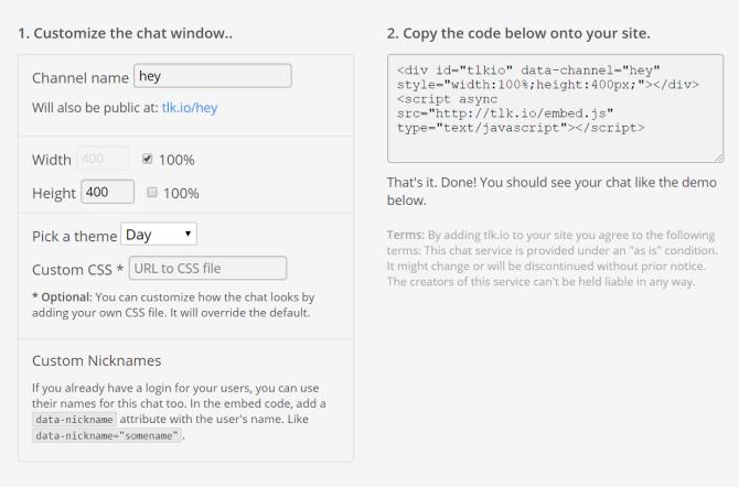 Tlk.io Chatroom Website