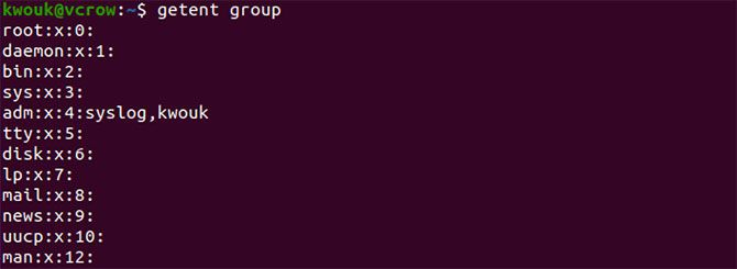 Listing groups on Ubuntu with the getent command