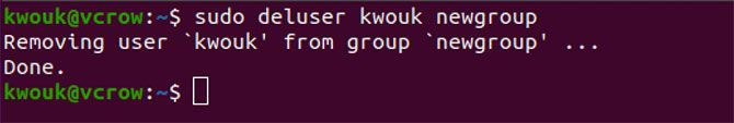 Removing a user from a group with the deluser command