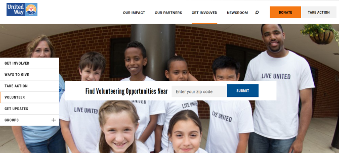 United Way Volunteer Work Website
