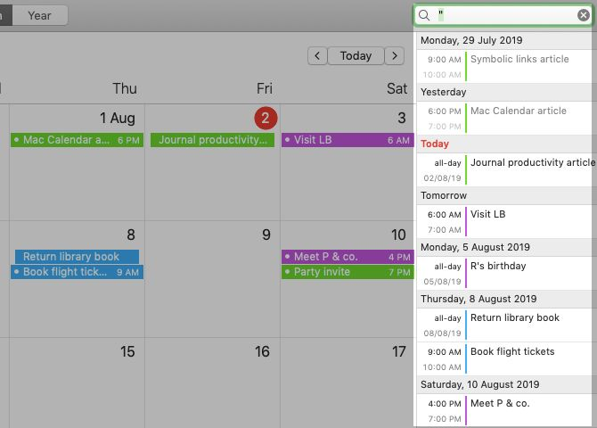 View events as a list in Calendar on Mac