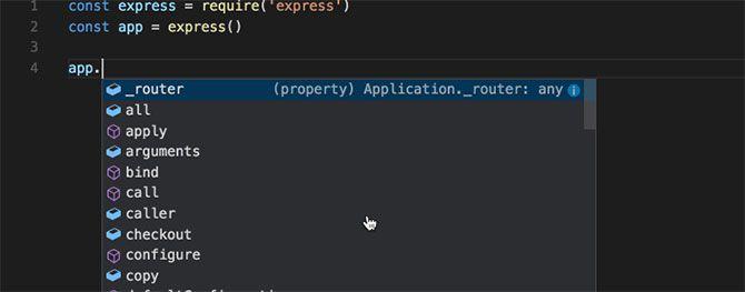 Visual Studio Code's IntelliSense in action