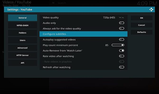 How to Install and Use the YouTube Kodi Add-On - configure subtitles