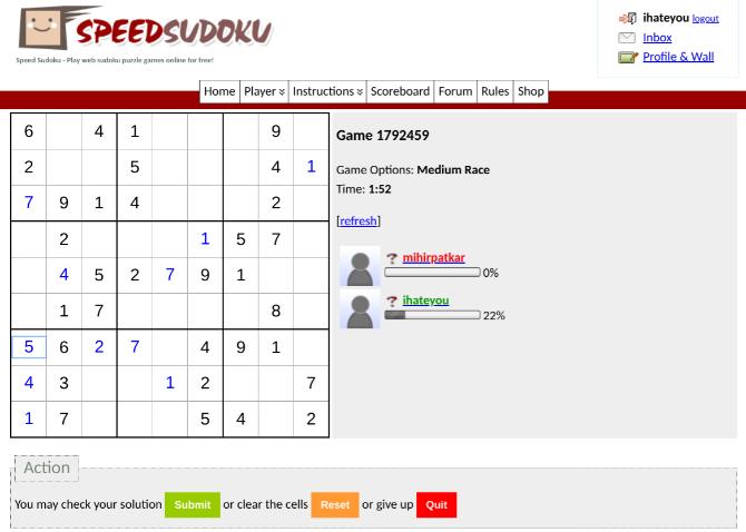 Play against two to four friends or strangers to solve Sudoku the fastest in Speed Sudoku