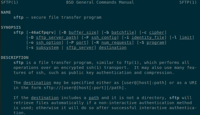 SFTP manual open in a Linux terminal