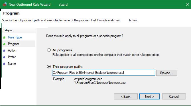 Internet Explorer Location Windows Firewall