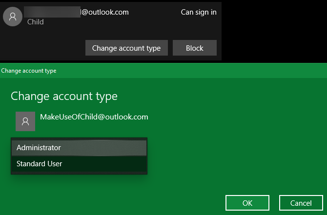 Windows 10 Change Account Type