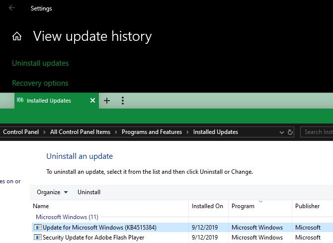 Windows 10 Uninstall Updates