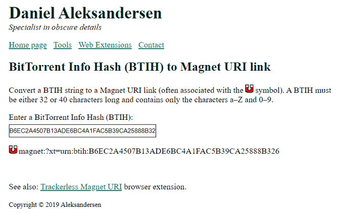 daniel aleksandersen hash to magnet