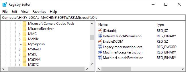 dcom error 10016 windows registry ole