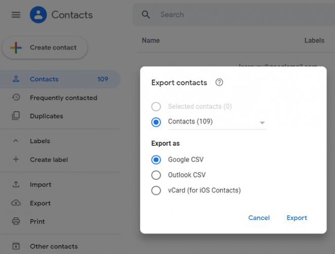 google contacts export options