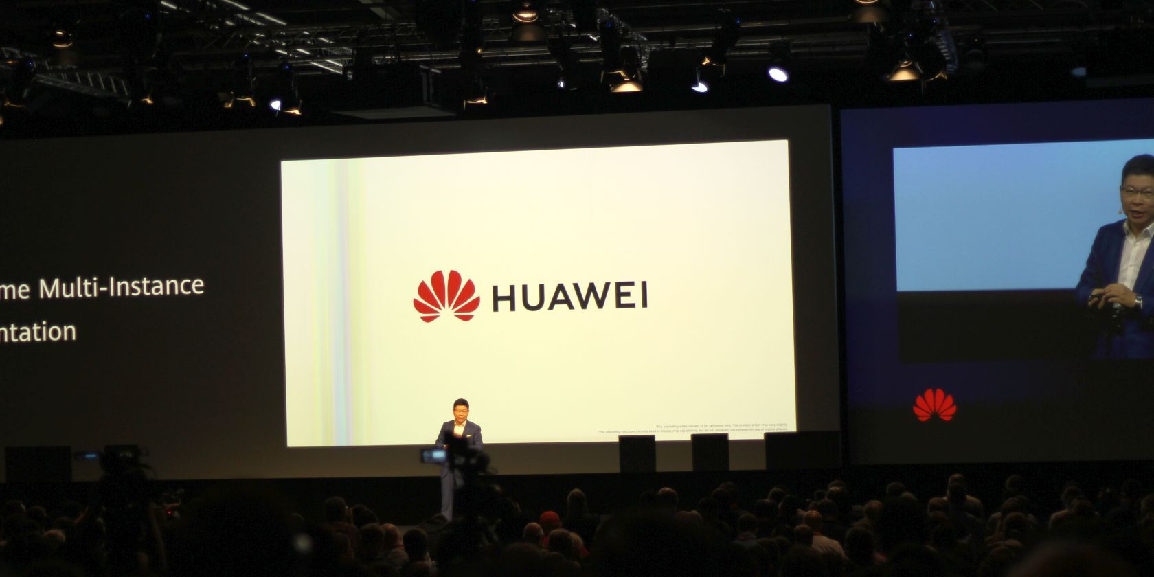This is an image of Huawei's logo which was displayed at IFA 2019 during a keynote speech