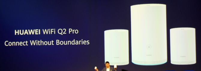 This is a photograph of the Huawei Q2 Pro WiFi router from IFA 2019