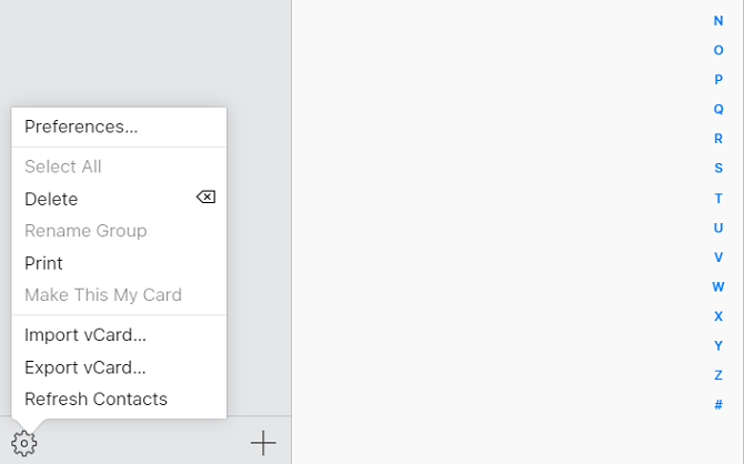icloud contacts import menu