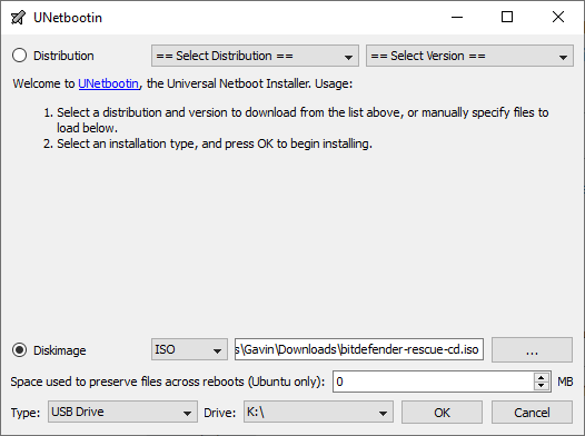 unetbootin select usb image