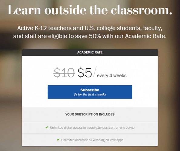 washington post student discount
