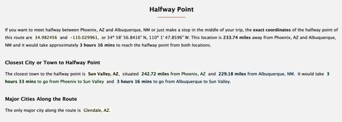 Distance Between Cities Halfway Point