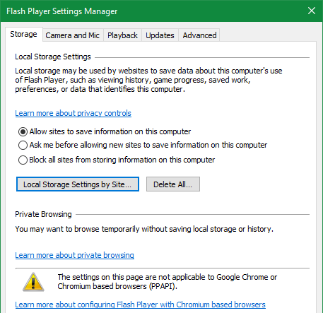 Flash Player Windows Settings