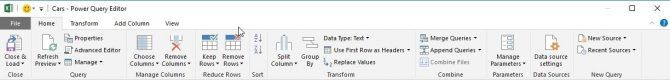 Menu of Power Query for Excel