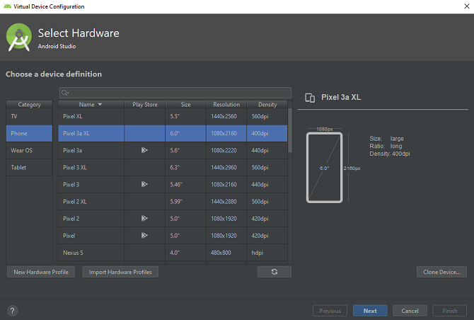 حدد android studio لجهاز لمضاهاة