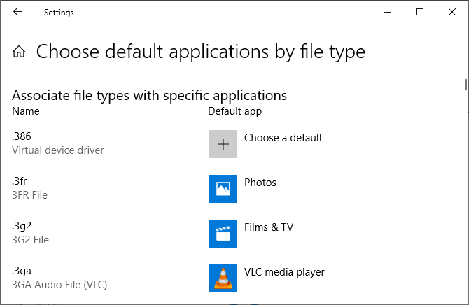 Windows 10 choose default apps by file type