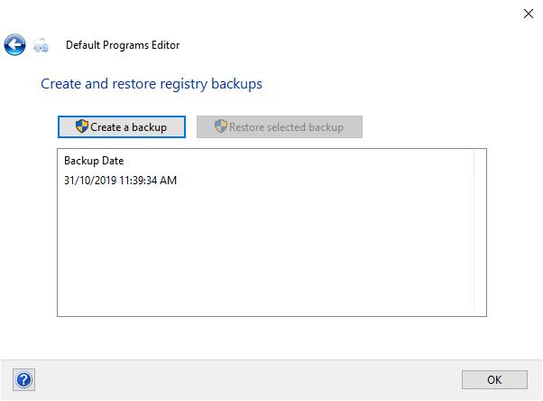 Default Programs Editor registry backup