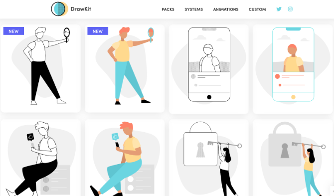 Drawkit has 54 free and royalty-free illustrations in two styles