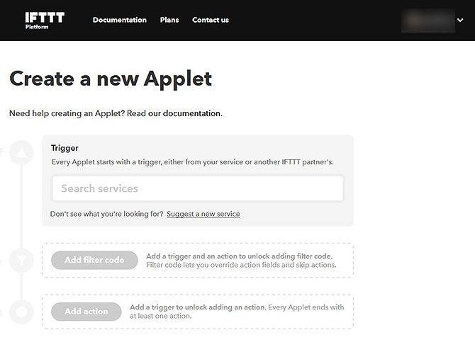 Как использовать апплеты IFTTT с расширенными фильтрами - создать новый апплет