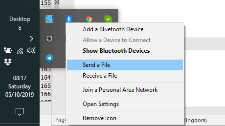 No Wi-Fi Direct? Send a file with Bluetooth instead