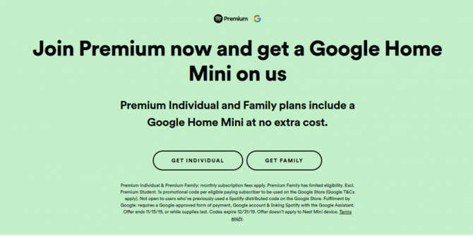 Spotify Users Can Now Get a Free Google Home Mini