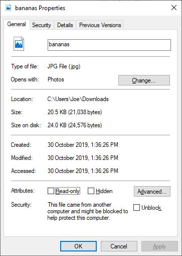 Windows 10 file properties