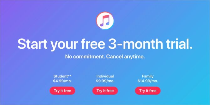 Apple Music three-month trial and pricings