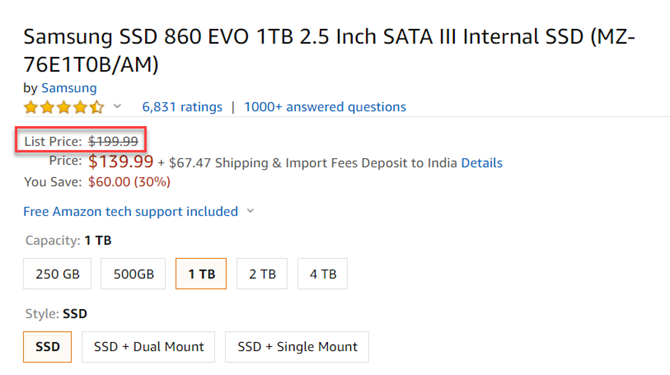 List Price on Amazon