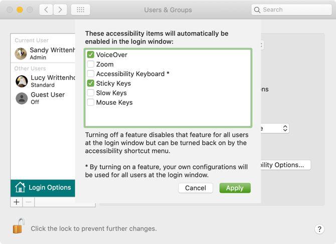 Mac Login Screen Accessibility Options