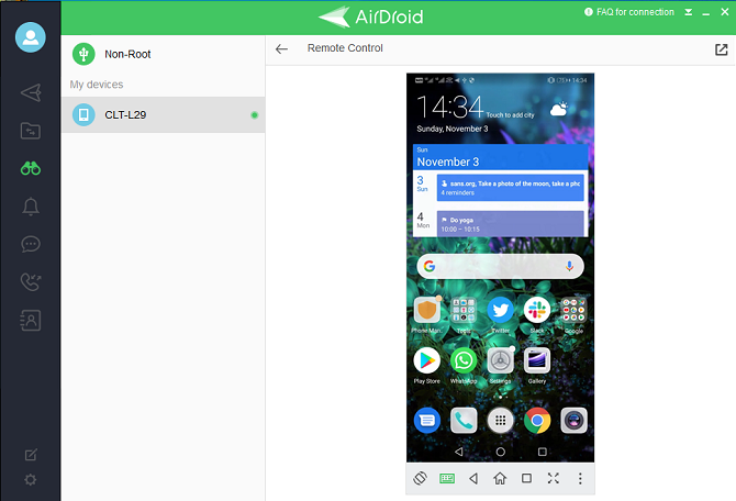 airdroid remote control phone on pc