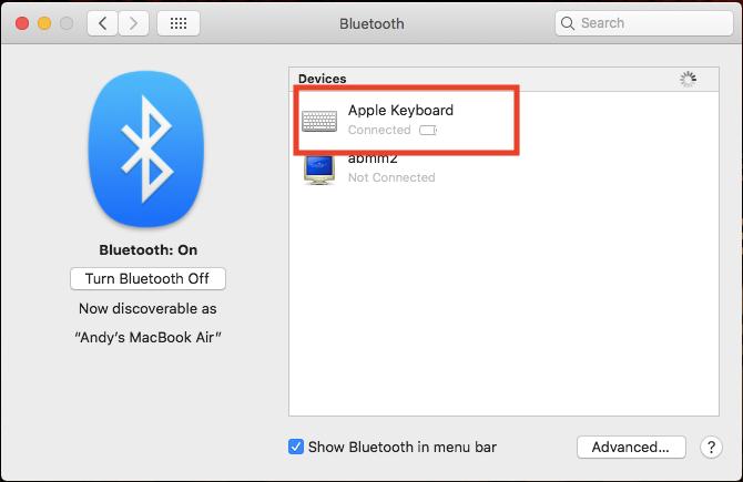 apple keyboard battery level