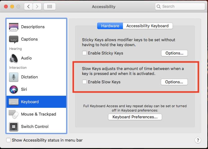 disable slow keys mac