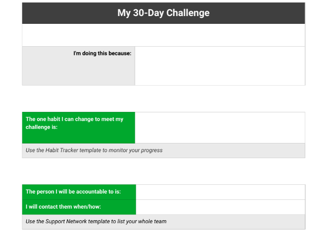 Evernote's 30-day Ever Better Challenge with four weeks of templates