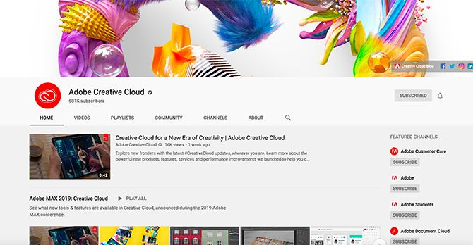Creative Cloud YouTube Channel