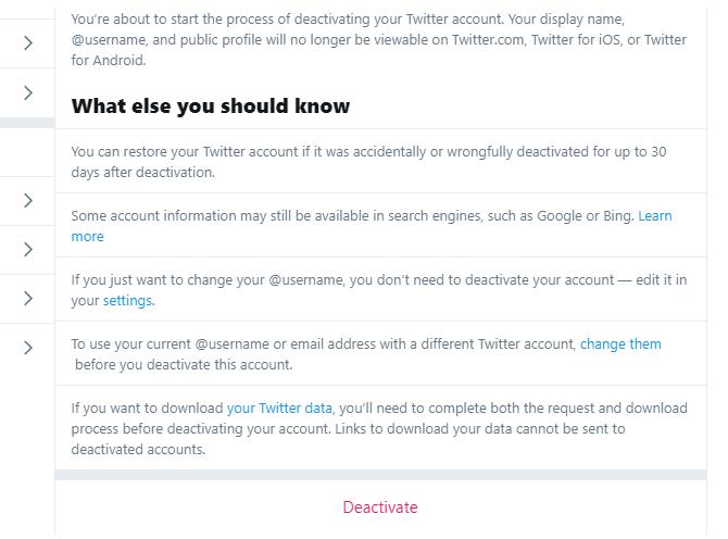 إلغاء تنشيط تأكيد حساب twitter