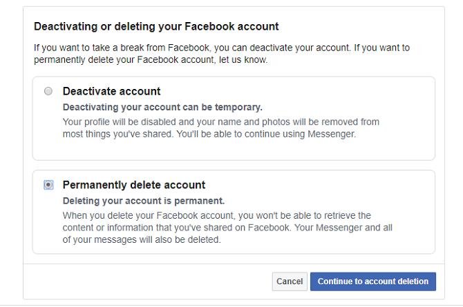 حذف خيار حساب الفيسبوك