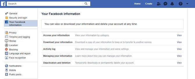 حذف أو إلغاء تنشيط صفحة معلومات الفيسبوك